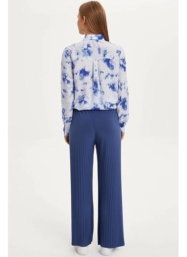 DeFacto Fitilli Rahat Kalıp Pantolon Mavi